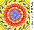 Kaleidoscopic spinning  sacred circle mandala on yellow - stock photo