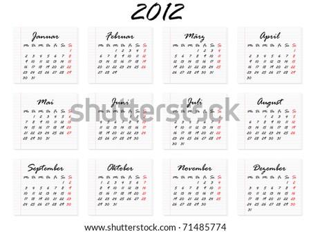 Kalender fuer das Jahr 2012 in deutscher Sprache - stock photo