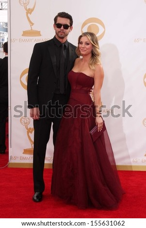 Kaley Cuoco and Ryan Sweeting at the 65th Annual Primetime Emmy Awards Arrivals, Nokia Theater, Los Angeles, CA 09-22-13 - stock photo