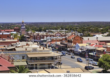 KALGOORLIE, AUSTRALIA -JAN 14: Areial view of the main avenue of the city of Kalgoorlie in Western Australia, 14/01/2016