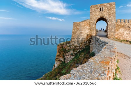 Kaliakra - long and narrow headland in the Southern Dobruja region of the northern Bulgarian Black Sea Coast,  60 km northeast of Varna with an ancient stone fortress. - stock photo