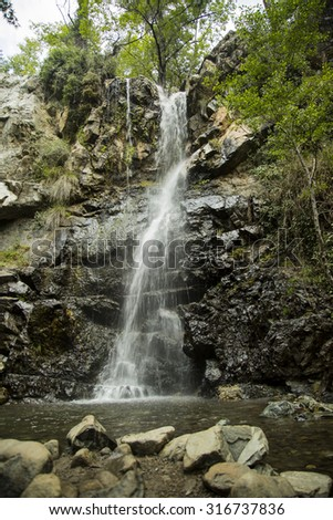 kalidonia waterfalls of cyprus - stock photo