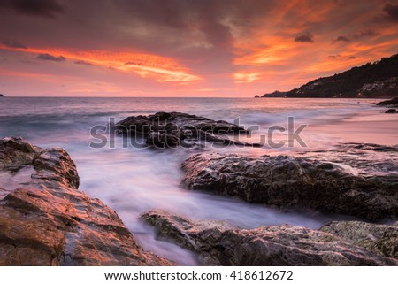 Kalim beach at sunset in Phuket Thailand - stock photo