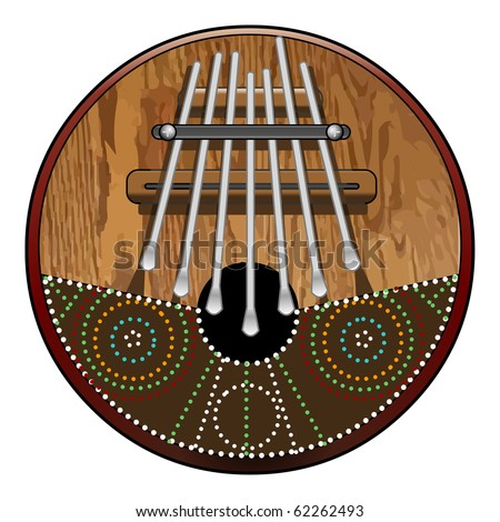 Kalimba 7 note, African Instrument (native and tribal) made of wood and coconut with seven pieces of steel. - stock photo