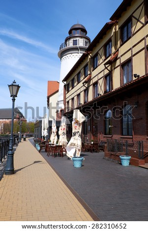 KALININGRAD, RUSSIA - APRIL 23, 2015: Ethnographic and trade center, embankment of the Fishing Village. - stock photo