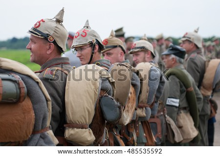 KALININGRAD RUSSIA, 21 AUGUST 2016: Historical reenactment of the Battle of Gumbinnen, World War I, German soldier  Kaliningrad region, Russia.