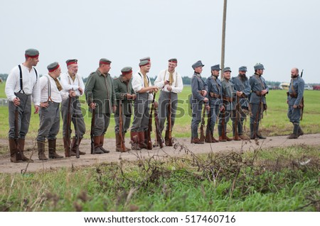 KALININGRAD RUSSIA, 21 AUGUST 2016: Historical reenactment of the Battle of Gumbinnen, World War I, soldier  Kaliningrad region, Russia.