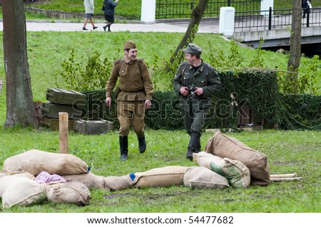 KALININGRAD, RUSSIA  - May 09: Reconstruction of the Great War (Russian-Germany) battle. This image is not nazism propagation, May 09, 2010 in Kaliningrad, Russia.