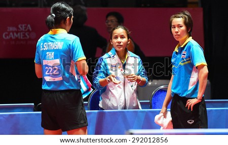 KALLANG,SINGAPORE-JUNE1:Nanthana.K and Suthasini.S of Thailand in action during the 28th SEA Games Singapore 2015 between Thailand and Indonesia at Singapore Indoor Stadium on June1 2015 in SINGAPORE. - stock photo
