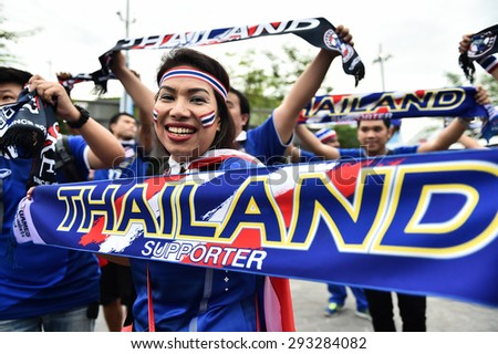 Kallang,Singapore - JUNE 13:Unidentified fans of Thailand national supporters during the 28th SEA Games Singapore 2015 match between Thailand and Indonesia at Singapore National Stadium on JUNE13 2015