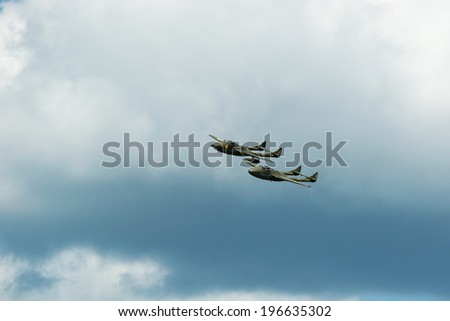 KALLINGE, SWEDEN - JUNE 01, 2014: Swedish Air Force air show 2014 at F 17 Wing. de Havilland Vampire jet plane. Airborne.