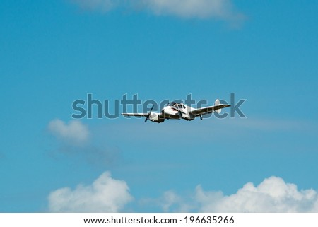 KALLINGE, SWEDEN - JUNE 01, 2014: Swedish Air Force air show 2014 at F 17 Wing. Miles Gemini twin engine touring aircraft, airborne.