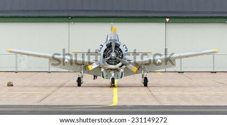 KALLINGE, SWEDEN - JUNE 01, 2014: Swedish Air Force air show 2014 at F 17 Wing. North T 28 Trojan near the hangar. - stock photo