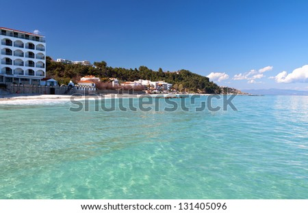 Kallithea summer resort at Kassandra of Halkidiki peninsula in Greece - stock photo