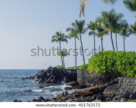 Kamakahonu, the residence of Kamehameha I, was located at the North end of Kailua Bay in Kailua-Kona on Hawaii Island. - stock photo