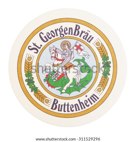 KAMBERK, CZECH - August 31, 2015: Beermat of German beer St. Georgen Brau Buttenheim isolated over white background