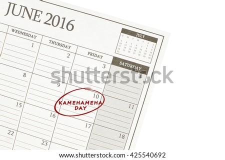 Kamehameha Day 10 June 2016 Calendar isolated on white background
