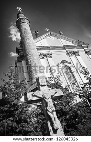 Kamenetz-Podolsk Cathedral of Saints Peter and Paul, Ukraine, black and white - stock photo