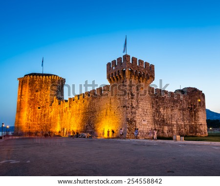 Kamerlengo Fortress in Trogir in the Evening, Dalmatia, Croatia - stock photo