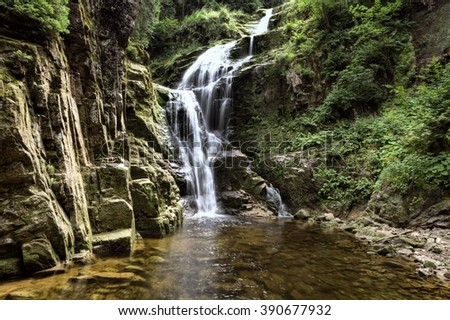 Kamienczyk waterfall in the mountains, Karkonosze,  Giant Mountains - stock photo