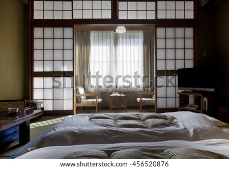 KAMIKOCHI,JAPAN- MAY 22,2016: Interior of a traditional Japanese room, every detail is original - stock photo