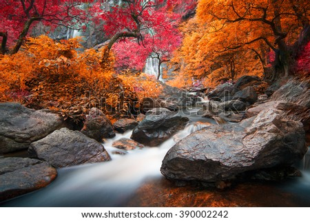 Kamphaeng Phet, Khlong Lan waterfall in autumn forest, - stock photo
