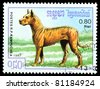 KAMPUCHEA - CIRCA 1987: A stamp printed in Kampuchea shows dog Molosser, circa 1987 - stock photo
