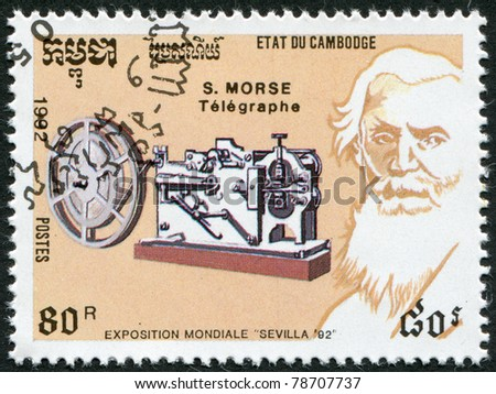 KAMPUCHEA-CIRCA 1992: A stamp printed in the Cambodia, devoted EXPO-92 in Seville, shows Samuel Morse, circa 1992 - stock photo