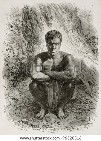 Kanak crouched (New Caledonia native). Created by Neuville after photo of unknown author, published on Le Tour Du Monde, Paris, 1867 - stock photo