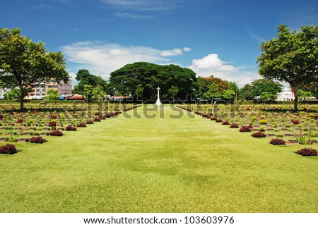 Kanchanaburi cemetery from World war 2, Thailand - stock photo