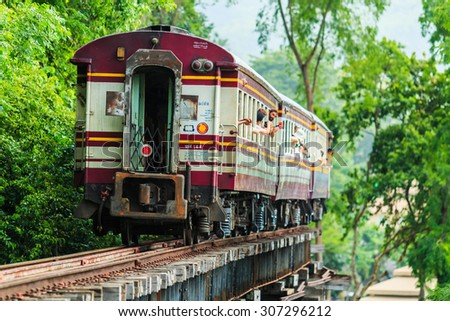 KANCHANABURI PROVINCE, THAILAND - June 18: Train rides on Burma railway in Kanchanaburi province, Thailand on June 18, 2015. Railway was built by Japan in 1943, to support its forces in World War II.
