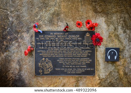 KANCHANABURI, THAILAND - September 17, 2016: plaque in memory of Sir Edward 'Weary' Dunlop at Hellfire pass Memorial .The Hellfire Pass Memorial and Memorial Museum were set up  commemorate the fallen