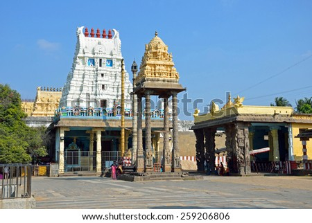 KANCHIPURAM, INDIA -?? FEBRUARY 8 2015: Varadharaja Perumal Temple is a Hindu temple dedicated to Lord Vishnu,that was originally built by the Cholas in 1053 and it was expanded later. - stock photo