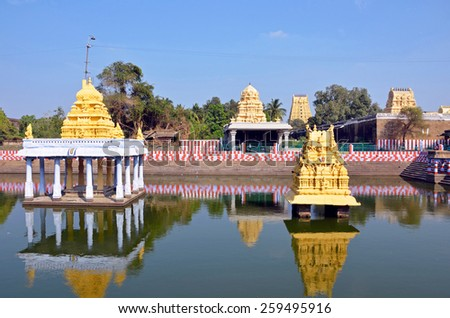 KANCHIPURAM, INDIA -FEBRUARY 8 2015: Varadharaja Perumal Temple is a Hindu temple dedicated to Lord Vishnu,that was originally built by the Cholas in 1053 and it was expanded later. - stock photo