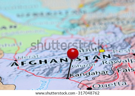 Kandahar pinned on a map of Asia  - stock photo