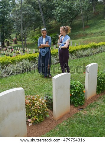 KANDY, SRI LANKA –SEPTEMBER 07: Commonwealth war cemetery on September 07 2016 in Kandy, Sri Lanka. It is a British military cemetery for soldiers of British Empire who were killed during World War II