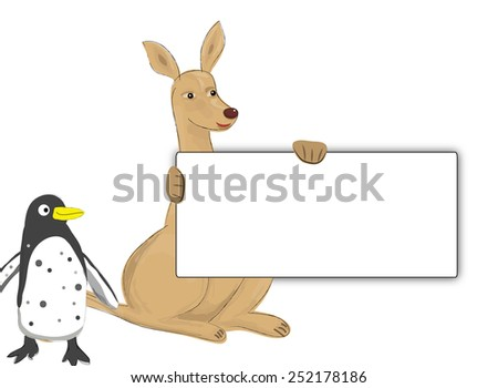 kangaroo and penguin - stock photo