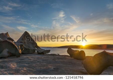 Kangaroo Island remarkable rocks at sunset - stock photo