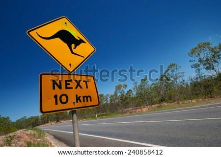 Kangaroo sign, Australia - stock photo