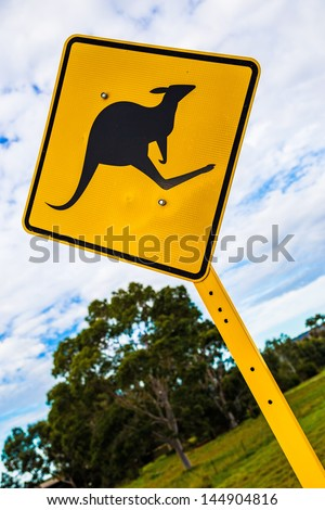 Kangaroo warning signal - stock photo