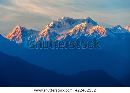 Kangchenjunga close up view from Pelling in Sikkim, India. Kangchenjunga is the third highest mountain in the world. - stock photo