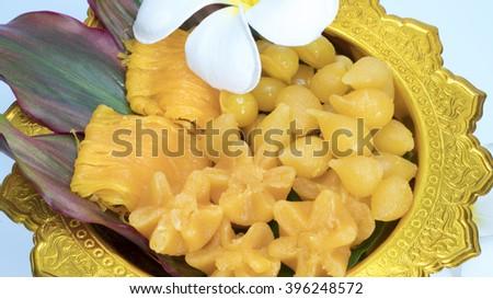 Kanom Thong Yod (gold egg yolks drops) a traditional Thai dessert - stock photo