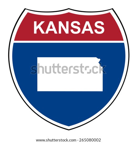 Kansas American interstate highway road shield isolated on a white background. - stock photo