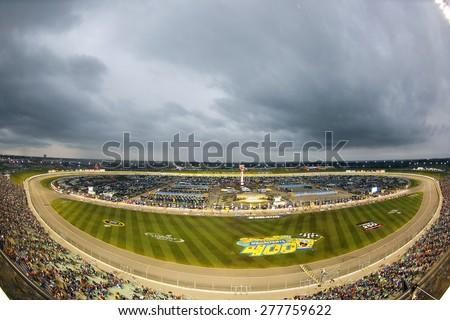 Kansas City, KS - May 09, 2015:  The NASCAR Sprint Cup Series teams take to the track for the SpongeBob SquarePants 400 at Kansas Speedway in Kansas City, KS. - stock photo