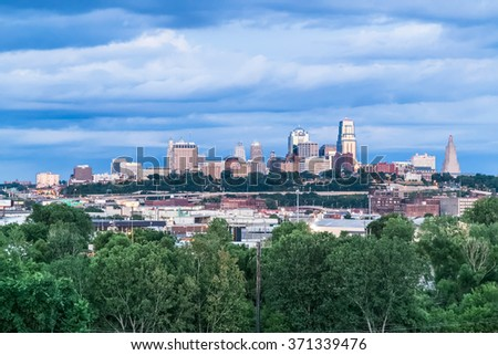 Kansas City, MO/USA - circa July 2015: View of  Kansas City, Missouri, Kansas