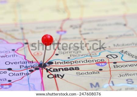 Kansas City pinned on a map of USA  - stock photo