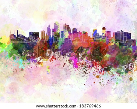 Kansas City skyline in watercolor background - stock photo