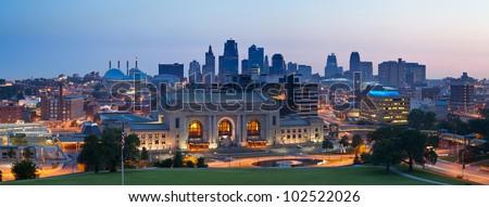 Kansas City skyline panorama. Panoramic image of the Kansas City downtown district at sunrise. - stock photo