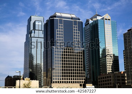 Kansas City - skyscrapers in downtown - stock photo