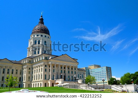 Kansas State Capitol Building on a Sunny Day - stock photo